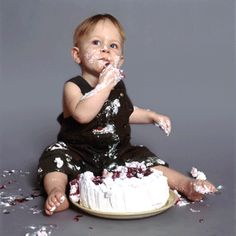 Little kid. Big cake.