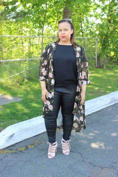 Floral kimono. Leather leggings. Pink cat-eye sunglasses. Pink lace up heels. Plus size fashion blogger. Curvy fashion