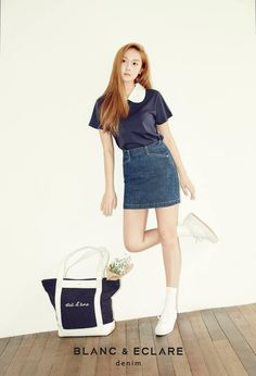 "Jessica Kicks Back in Chic Style and Fashion for ""Blanc & Eclare"" Denim Fashion Line, Asian Fashion, Daily Fashion, Fashion Beauty, Girl Fashion, Jessica & Krystal, Krystal Jung, Jessica Jung Fashion, Jessica Jung Style"