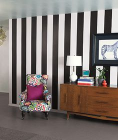 """Wallpaper Made Easy  Self-Adhesive   Vinyl peel-and-stick wallpaper adheres to any clean, smooth, dry surface. It's """"like a stronger version of a Post-it note,""""  Shown: Black Jack and Ghost Stripes by Brewster, $12 for each 16-by-6 1/2-inch strip, wall-pops.com for stores."""
