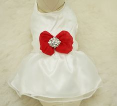 Red Dog Dress, Christmas gift, Pet accessory,dog clothing, Rhinestone, dog lovers, dog birthday gift, custom dog dress, Red dog dress