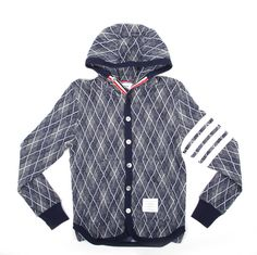 Thom Browne Argyle Hooded Cardigan