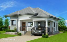 The house in off-white and grey shades has clean with refined edges. This Begilda – Elevated Gorgeous Modern Bungalow House is absolutely amazing. Modern Bungalow House Design, Simple House Design, Modern House Plans, Small House Plans, Bungalow Designs, Single Storey House Plans, One Storey House, Two Story House Design, House Plans One Story