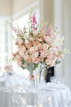 14 Ways to Use Pantone's Colors of the Year 2016 - Rose Quartz and Serenity - In Your Wedding: Elegant rose quartz pink  peony + rose flower arrangement centerpieces {Kristen Jane Photography}
