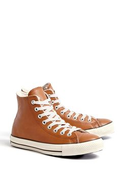 deedc86bd504 Tan Leather Chuck Taylor All Star High Tops by Converse Brown Leather  Converse
