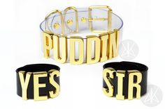 """I just added a bunch of stuff to the """"Harley Quinn Collection"""" on www.kadabracult.com  A bunch of you have been asking for a more authentic looking """"PUDDIN"""" Choker. So here she is!  This is the set including the """"YES  SIR"""" Cuffs as well!  All inspired by Harley Quinn in the upcoming Suicide Squad movie!! Tag someone who would loves Harley Quinn!"""
