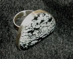 Zilveren ring met Sneeuwvlok Obsidiaan.