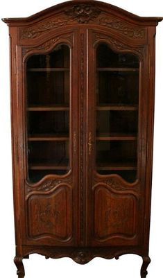 Confident Armoire Antique French Country Farmhouse 1900 Large Solid Oak Floral Roses 1800-1899 Antiques