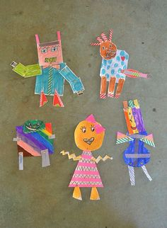 make paper robots with brass fasteners | @artbarblog