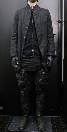 paul harnden jacket, soloist vest, drkshdw shirt, rick owens tank, julius leather pant, glove, and boot