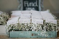 Baby's breath escort card display Photography By / fromthehipatlanta.com, Planning By / laurabirneyevents.com, Floral Design By / stylishstems.com