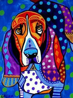 Basset Hound painting by Dean Russo.
