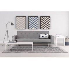 Premium City Linen Queen Futon   queen size fold-out sofa - look how it converts!