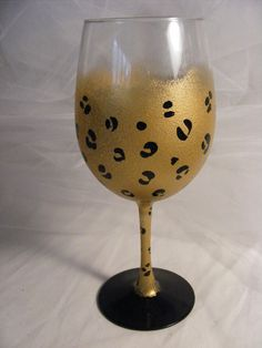 gold leopard wine glass