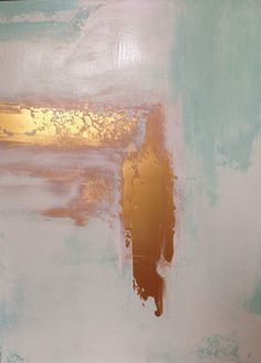 "pearl-nautilus: "" Gold & Mint - Abstract painting by Jennifer Flanagan acrylic on watercolor paper source: """