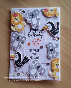 Each image on this birthday card had been die cut and adhered using dimensionals for added depth. Happy Birthday Cards Handmade, Baby Birthday Card, Birthday Card Template, Birthday Cards For Boys, Etsy Cards, Card Making Templates, Scrapbook Cards, Scrapbooking, Kids Cards