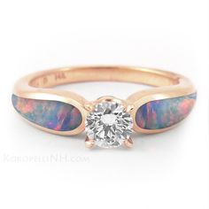 """""""Blushing Sea - Radiance"""" .5ct Opal and Rose Gold Engagement Ring"""
