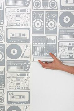 Aimee Wilder Tapes Wallpaper. Cool idea for part of a rehearsal room maybe
