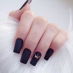 A manicure is a cosmetic elegance therapy for the finger nails and hands. A manicure could deal with just the hands, just the nails, or Long Acrylic Nails, Acrylic Nail Art, Crown Nails, Crown Nail Art, Tumblr Nail Art, Black Nails Tumblr, Matte Black Nails, Black Manicure, Black Nail Art