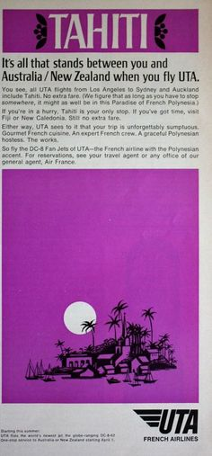 1968 ad uta french airlines tahiti vacation #travel #vintage print ad k137 from $9.25