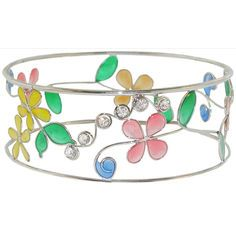 Stained Glass Effect Flowers and Rhinestones Arm Band Armband Armlet in Multi with Silver Tone finish