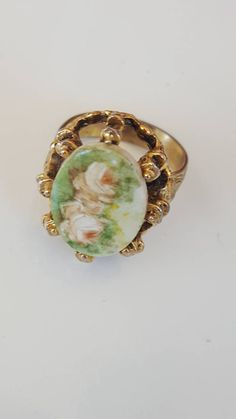 Excited to share the latest addition to my #etsy shop: Vintage Rose Ring / Adjustable Gold Ring with Flowers / Romantic Jewelry / Statement Ring / Gift for Her / Shabby Chic http://etsy.me/2GLc6a0 #jewellery #ring #porcelain #ceramic #vintage #jewlery #rose #roses #orn
