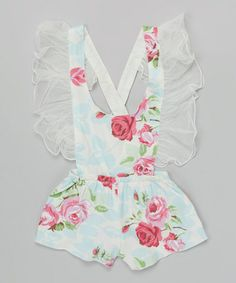 Another great find on #zulily! Ivory Floral Ruffle Romper - Toddler & Girls by Blossom Couture #zulilyfinds