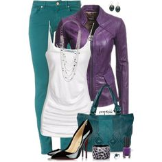 """Purple and Teal"" by exxpress on Polyvore"