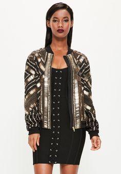 Peace + Love Black Heavily Embellished Bomber Jacket - Missguided