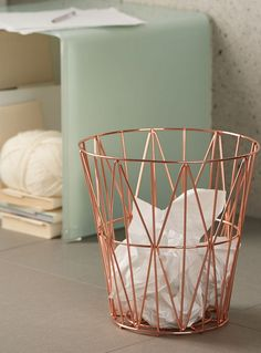 Maybe spray paint trash can this color? Torre and Tagus at Simons Maison A fashionable Scandinavian style piece with subtle geometric shapes in a chic metal finish: Rose Gold Room Decor, Rose Gold Rooms, Copper Room Decor, Marble Room Decor, Rose Gold Interior, Teenage Room Decor, Diy Room Decor, Home Decor, Rose Gold Marble