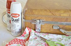 mod podge fabric to a suitcase tutorial. Thanks Carol, I was looking for a crafty idea for a fabric holder that I could take to my sewing get togethers. I'm def making this!