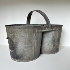 double bucket with handle Galvanized Buckets, Galvanized Metal, Bucket Brigade, Brooms And Brushes, Object Photography, Milk Cans, Vintage Planters, Cool Kitchens, Crates