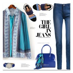 """The girl in Jeans"" by arohii ❤ liked on Polyvore featuring Versace, Salvatore Ferragamo, casual, polyvorecommunity and polyvorefashion"