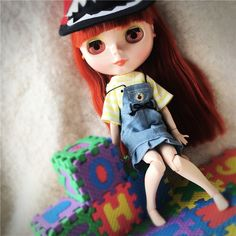 Cute Jean Overalls Suspender Skirts Skirt Yellow T-shirt Tops Clothes For Blythe Dolls