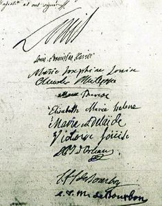The signatures of various members of the Royal Family on the baptismal register of Marie Sophie Hélène Béatrice de France, the youngest child and second daughter of Marie Antoinette and Louis XVI.