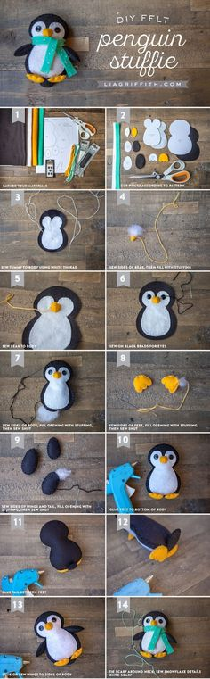 Cats Toys Ideas - Make your own gorgeous penguin felt stuffie with this printable template and step-by-step tutorial from the Lia Griffith studio. - Ideal toys for small cats