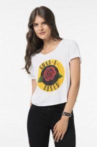 White Guns n Roses crop tee