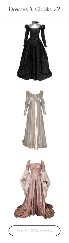 """""""Dresses & Cloaks 22"""" by xx-black-blade-xx ❤ liked on Polyvore featuring dresses, gowns, medieval, long dresses, costumes, period dresses, renaissance, vestidos, purple evening dresses and long sleeve dress"""