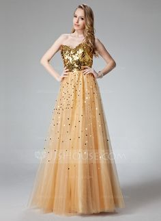 A-Line/Princess Sweetheart Floor-Length Tulle Prom Dress With Sequins (018004807)