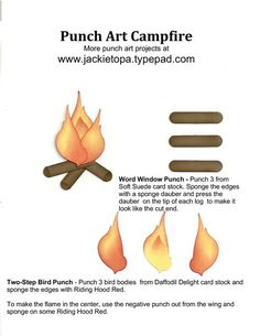Punch art campfire uses the following Stampin' Up! punches - Word Window and Two-Step Bird.