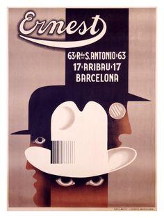 «Adolphe Mouron Cassandre: poster artwork for Ernest hats Reclamos Llorens, Barcelona, Spain Retro Poster, Poster Art, Art Deco Posters, Vintage Advertisements, Vintage Ads, Vintage Posters, Milton Glaser, Art Deco Design, Retro Design