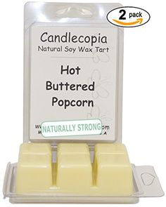 Candlecopia Hot Buttered Popcorn 6.4 oz Scented Wax Melts - Bring the excitement and smell of the movies into your living room! Fresh cooked popcorn with hot butter poured on top - 2-Pack of naturally strong scented soy wax cubes throw 50+ hours of fragrance when melted in Scentsy®, Yankee Candle® or standard electric tart warmer Candlecopia http://www.amazon.com/dp/B00MFPO5VS/ref=cm_sw_r_pi_dp_2WQ6tb0PAA5PJ