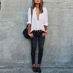Chic White Casual V Plunge Shirt