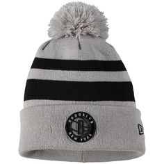 7cd137af Men's Brooklyn Nets New Era Gray/Black Rebound Cuffed Knit Hat with Pom,  Your Price: $21.99