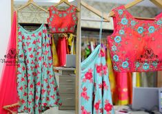 Beautiful powder blue color lehenga and pink color crop top with floret lata design hand embroidery thread work. Price 14900 RsTo buy this lehenga set kindly mail at varunigopen@gmail.com / whatsapp 9121017226 12 February 2018