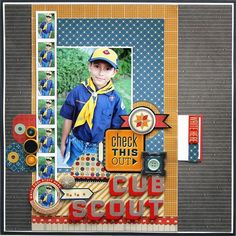 A bunch of cute layouts on this site, including this uber adorable Cub Scout layout. <3