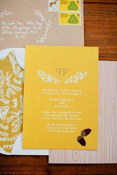 yellow wedding invites #yellowwedding http://www.weddingchicks.com/2013/11/22/van-gogh-inspired-wedding-ideas/