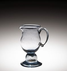 Cream Jug with 1794 U.S. Penny in Knop, possibly Kensington Glass Works, possibly John Nicholson's Glasshouse, probably Philadelphia, Pennsylvania, United States, about 1800-1815. Purchased with assistance of The Karl and Anna Koepke Endowment Fund. 2012.4.130 #corningmuseumofglass #cmog #glass #jug