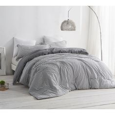 BYB Carbon Stone Grey and White Stripe Comforter   Overstock.com Shopping - The Best Deals on Teen Comforter Sets