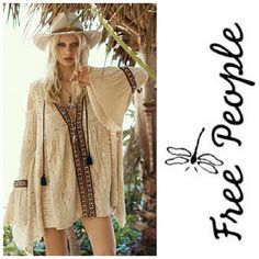 FREE PEOPLE • Bohemian Tunic / Dress NWT! Free People Dress/Tunic NWT - Unique, Bohemian, Festival, Ready! Beautiful detail in this unique FP tunic. Bell sleeves & cold shoulder style to die for!   🚫No Trades 🙄😘  🔘Use OFFER button to negotiate👍🤑 🔘Please Ask ❓'s BEFORE you Buy🤔😃 💕Thank you for stopping by! Happy Poshing!💕 Free People Tops Tunics